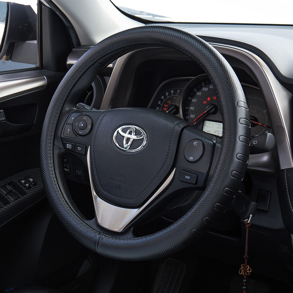 FMS Genuine Leather Car Steering Wheel Cover Universal 15 inch Automotive interior Accessories-Black, Durable, Breathable, Anti slip, Odorless