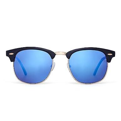 Lunettes de soleil Classique Femmes Hommes Demi-cadre Semi Rimless Lentilles Revo UV400 (Noir brillant/Bleu Revo) rwmL8Tu9t