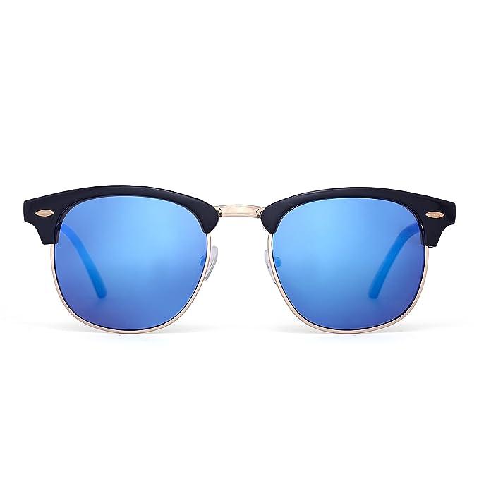 JM Gafas de Sol Retro Semi Mitad Sin Montura Browline Anteojos Para Mujer Hombre Lentes Revo