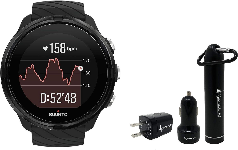 Suunto 9 Baro Durable Multisport GPS Watch with Barometric Altitude and Wearable4U Power Pack Bundle All Black KAV