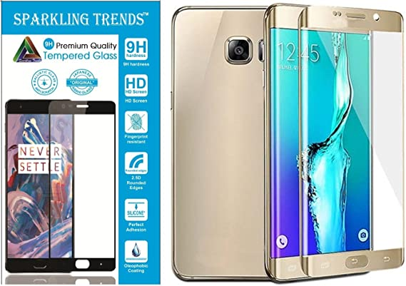 Sparkling Trends Full Body Curved Tempered Glass for Samsung Galaxy S7 Edge Gold Screen guards