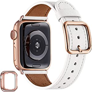 MNBVCXZ Compatible with Apple Watch Band 38mm 40mm 42mm 44mm Women Men Girls Boys Genuine Leather Replacement Strap for iWatch Series 6 5 4 3 2 1 iWatch SE(White/Rose Gold, 42mm 44mm)