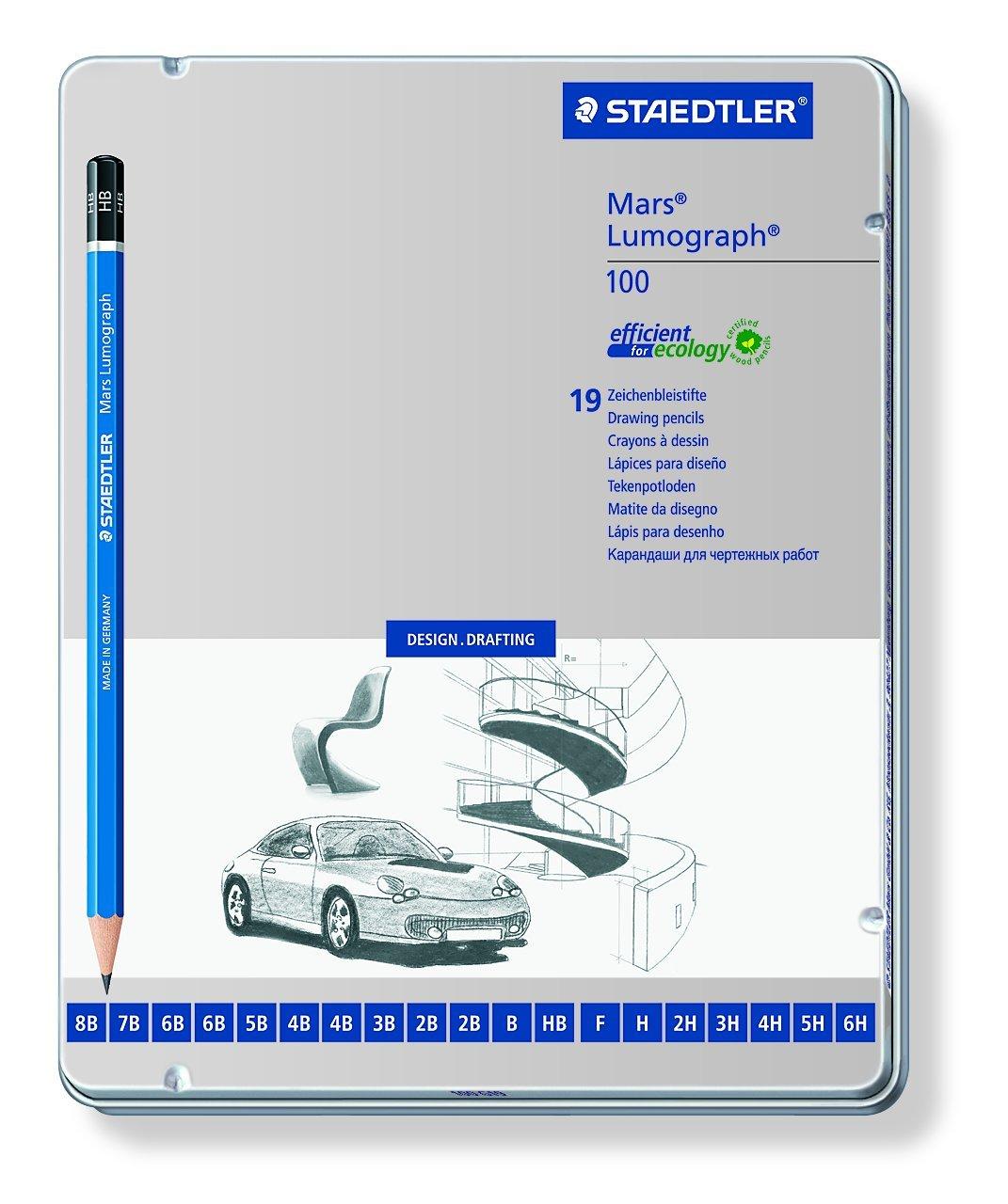 Staedtler 100 G19 Mars Lumograph Bleistift Premium Qualität 19 Stück sortiert in Metalletui