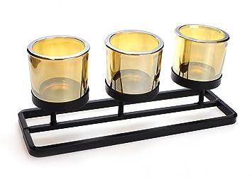 Teelichthalter er windlicht glas cm groß metall schwarz