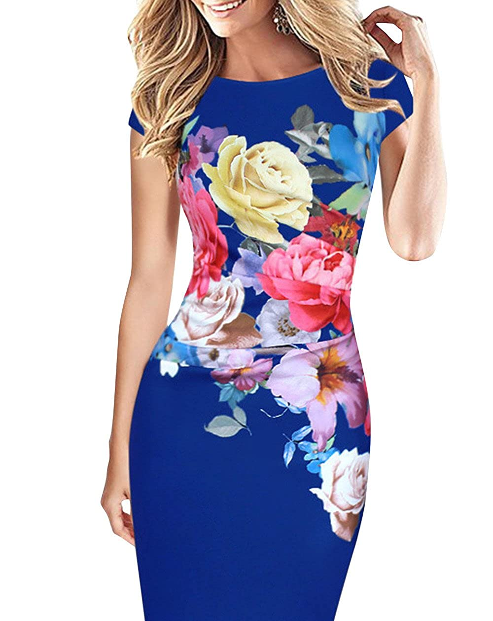 6120741c6bf Features: Cap Sleeve, Knee Length, Body con, Elegant Floral Sheath Pencil  Dress. Perfect for Work Wear, Formal Events, Wedding Guest Wear and ...