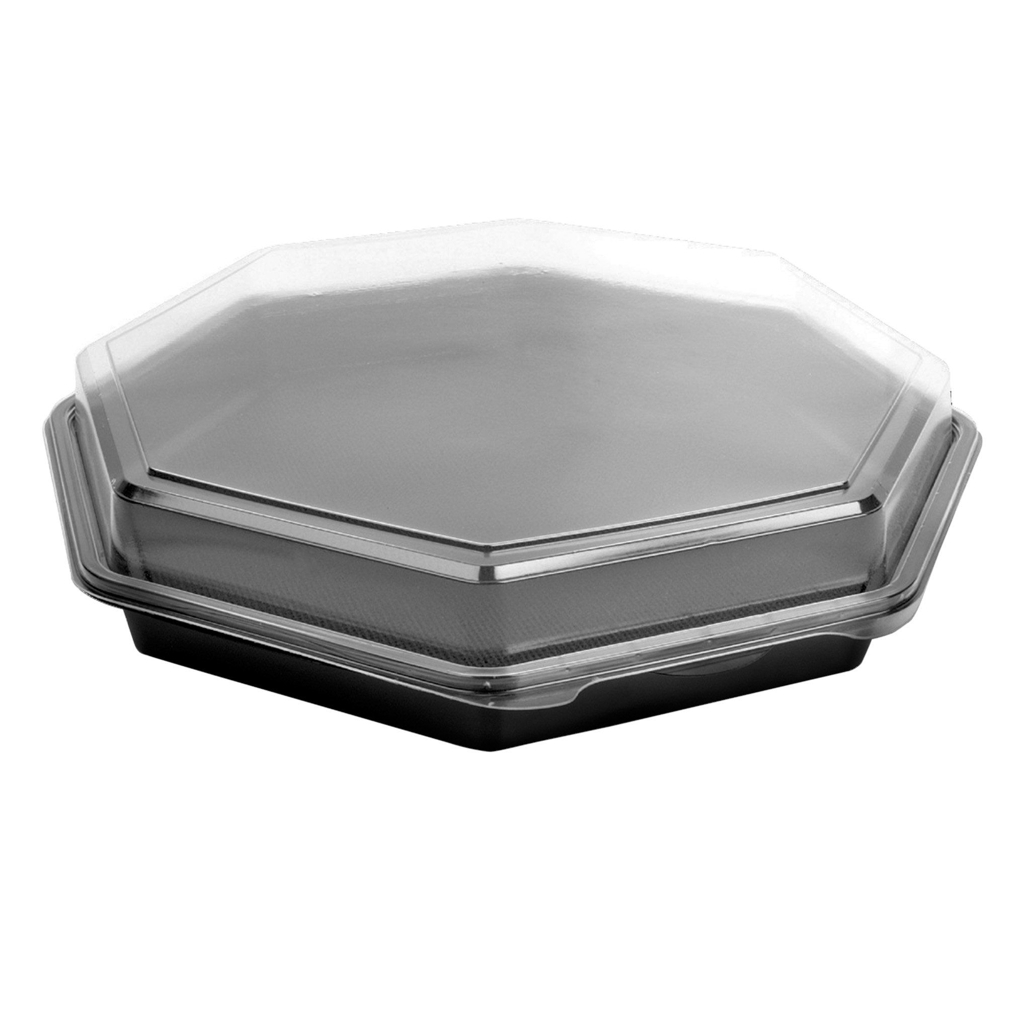 SOLO 863611-PS94 Creative Carryouts OctaView Polystyrene Hinged Cold Food Container, Octagonal, 12.5'' x 12'' x 3.2'', Black/Clear (Case of 100)
