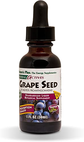 NaturesPlus Herbal Actives Grape Seed 25 mg Liquid Suspension – Vegan Drops, 1 fl oz – Nutritional Support for Free-Radical Defense General Well-Being – Vegetarian, Gluten-Free – 30 Servings