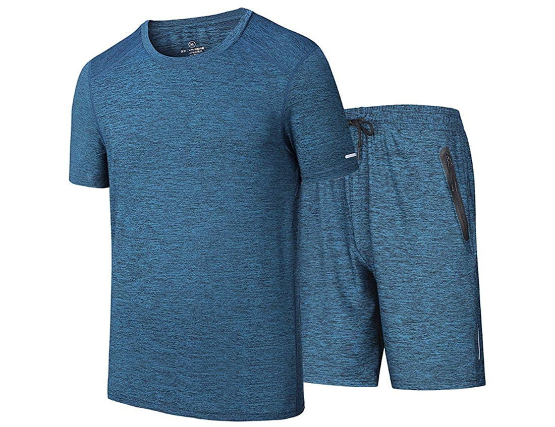2X Summer Fashion Men Tracksuit Set O-Neck Short Sleeve Sports Suits Plus SizeDS