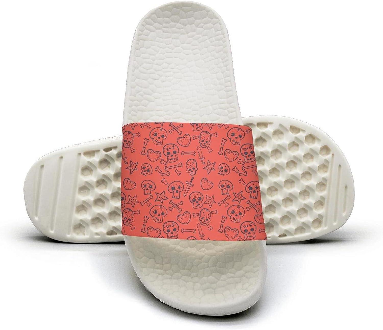 PPLLMMA red Pattern with Mexican Skulls Hearts Background Image Mens Shower Athletic Slides Sandal Slippers Flip Flops