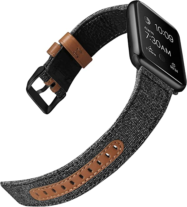 iHillon Bands Compatible with Apple Watch 42mm/44mm 38mm/40mm Series 5 Series 4 Straps, Classic Canvas Fabric Genuine Leather Wristbands Black Silver Buckle Compatible with iWatch Series 3/2/1