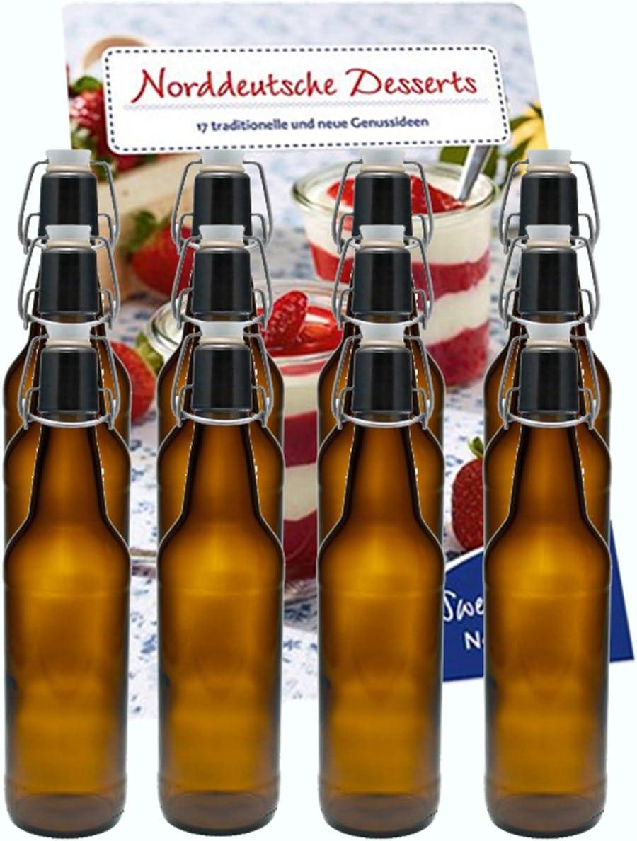 Vitrea '10unidades plancha botellas de planchar Botella Botellas botellas de cristal (500ml Marrón con Cierre, rellenables, cerveza Botellas de cerveza cerveza botella