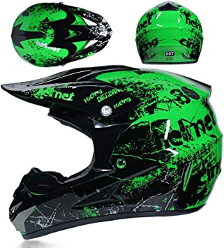 Casco de moto de cross todoterreno ATV camuflaje verde [DOT