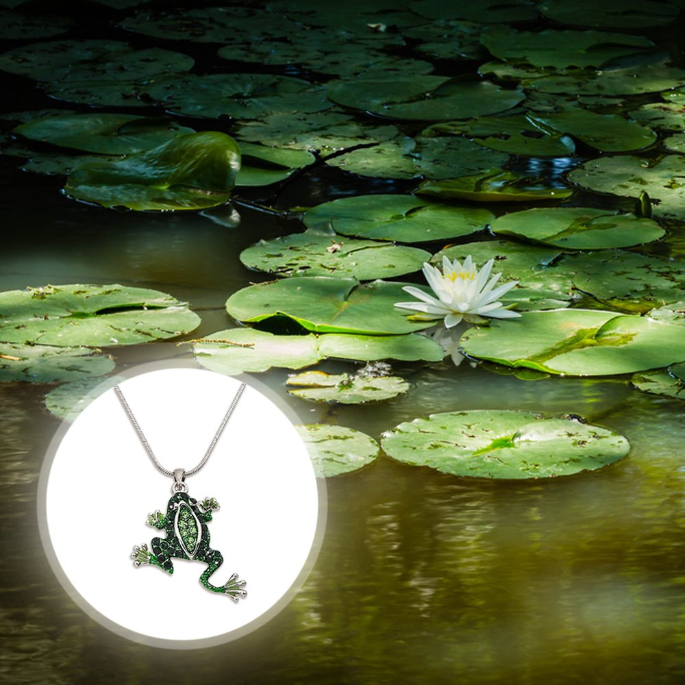 Lola Bella Gifts Green Crystal Frog Pendant Necklace with Gift Box
