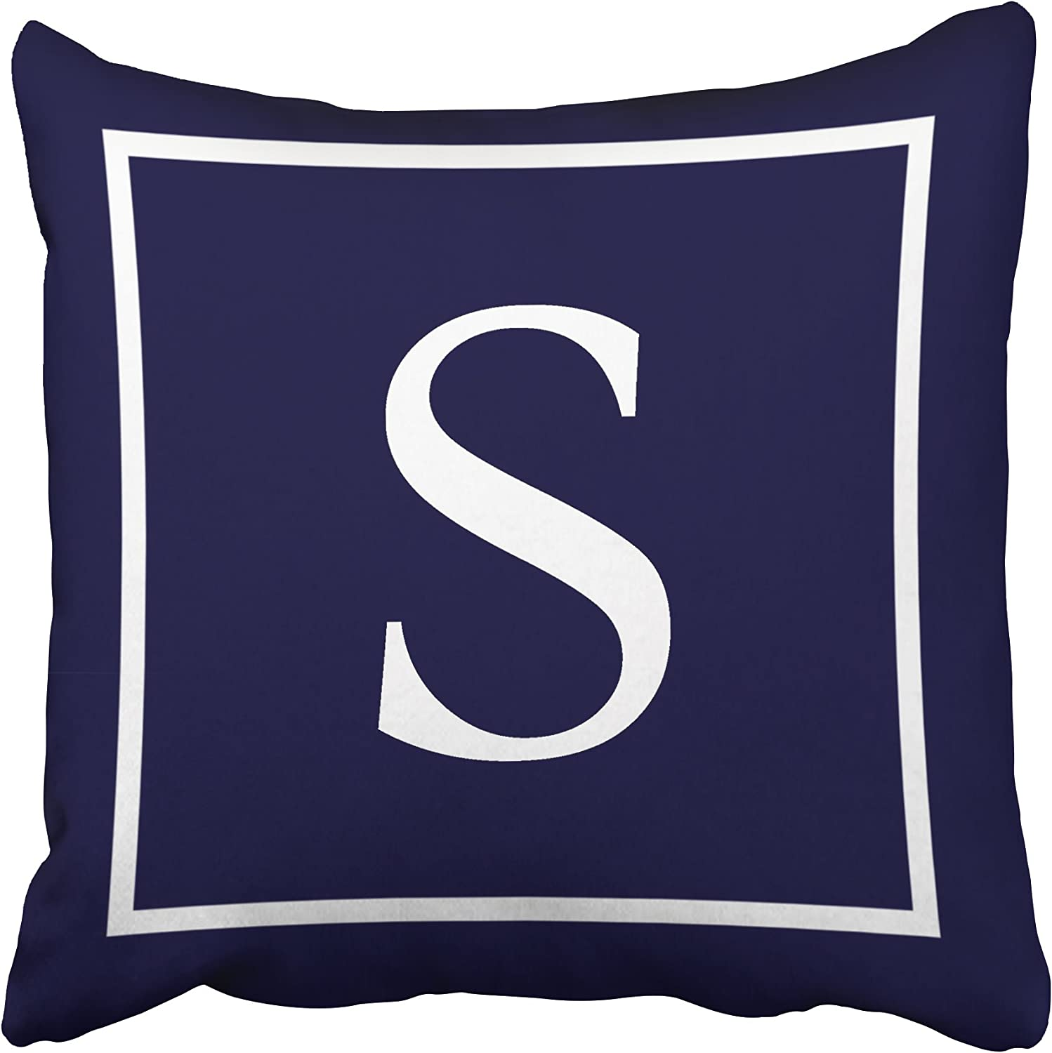Amazon Com Tarolo Decorative Customize Monogram On Navy Blue Pillow Personalized Monogram S Cotton Throw Pillow Case Decor Cushion Covers Size 16x16 Inches 40x40cm One Sided Home Kitchen