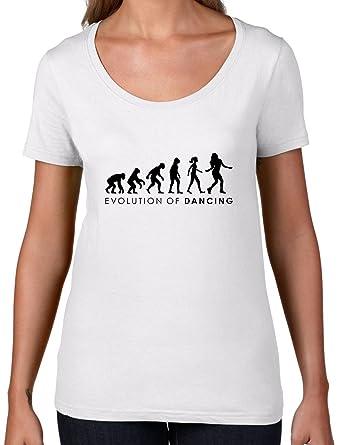 Evolution of Woman - Tanzen - Damen T-Shirt mit Rundhalsausschnitt- Weiß - S