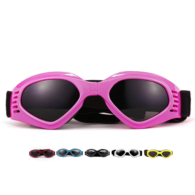 vevins犬ゴーグルサングラスUV保護折りたたみ式ペットサングラス調節可能な防水Eyewear for Cat Dog ホワイト SG001-W B075TFSCQM ピンク  ピンク