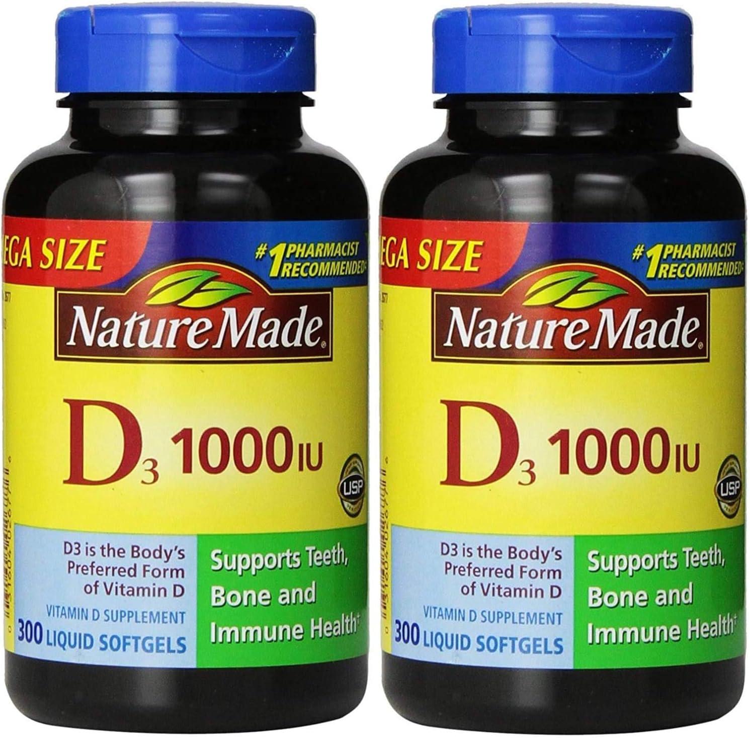Nature Made Vitamin D3 Tablets, 1000 IU, 300 ct Each. ( 2pk - 600 Softgels )