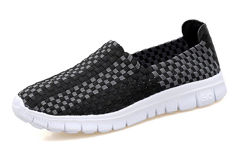 VenusCelia Women's Performance Woven Walking Sneakers Shoes (9 B(M) US,Black/Gray)