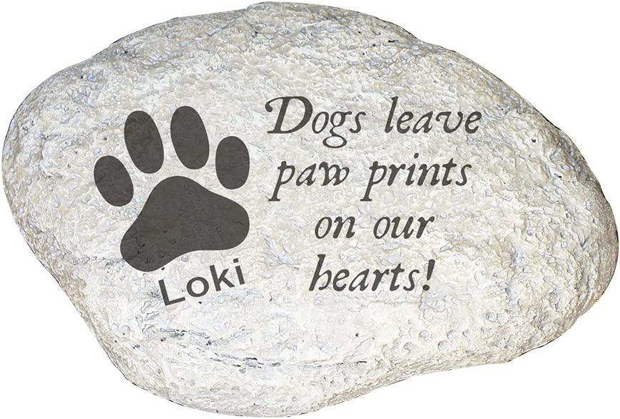 GiftsForYouNow Dogs Leave Paw Prints On Our Hearts Personalized Garden Stone, Personalized Pet Garden Stone, Outdoor Pet Decorations, Pet Lover Gift, I Love My Dog, 11