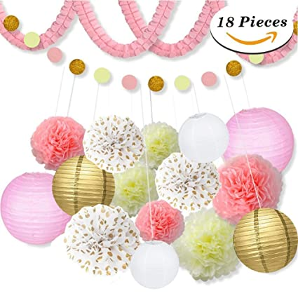 Amazon com: 18 Pcs Pink and Gold Party Decorations, Pom Poms