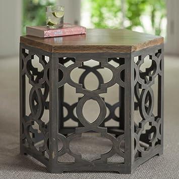 Fretwork Coffee Table.Myakka Savari Mango Hardwood Fretwork Carved Hexagonal Low Side