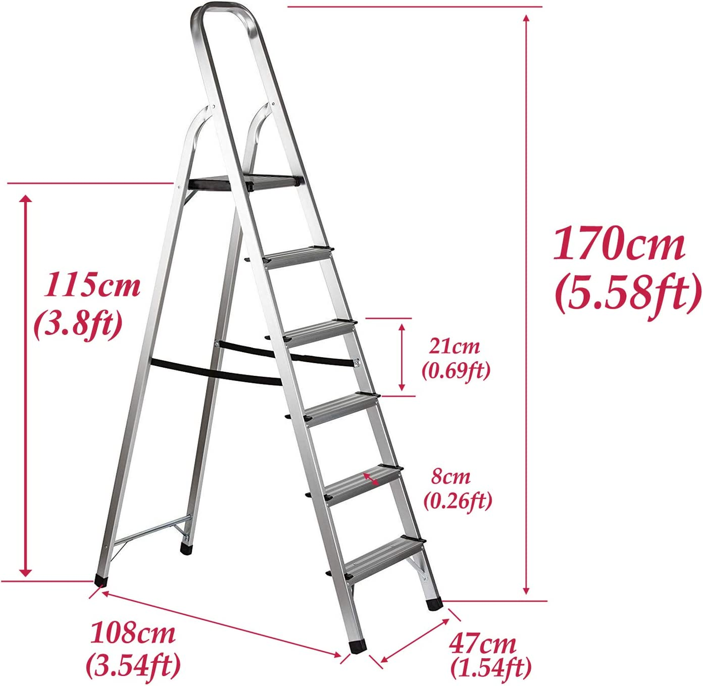Stepladders 7 Step Foldable Aluminium Lightweight Portable Ladder Stool Max Load 152kg Anti-Slip Rubber Feet