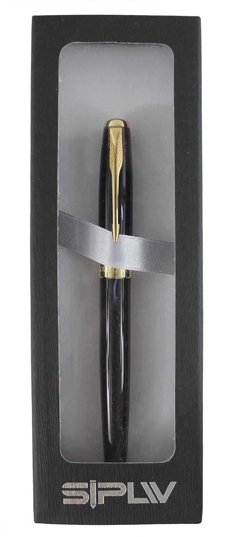 Sipliv oro classico tagliare penna stilografica pennino medio regalo inscatolato nero lucido