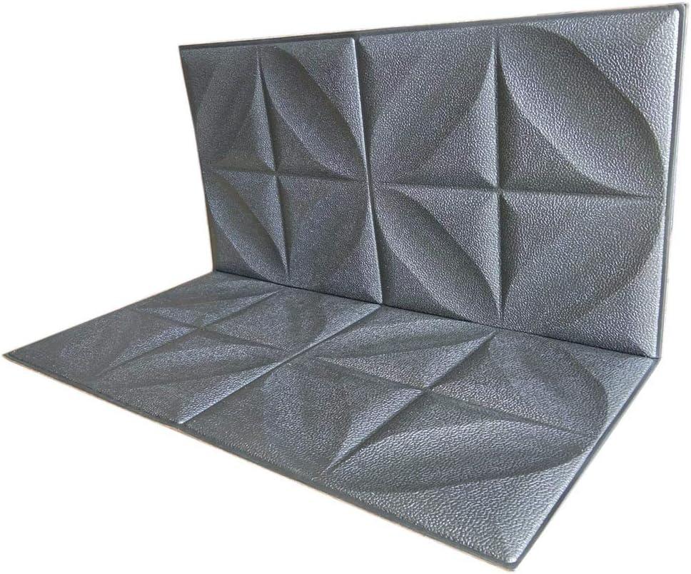 3D Wallpaper Silver Grey 3D Wall Panels Decorative 3D Panels Wall Textured Silver Grey Foam Board Wallpaper Wall Tiles Peel and Stick Self Adhesive Wallpaper TV Sofa Bedroom Wall Decor 12 Panels