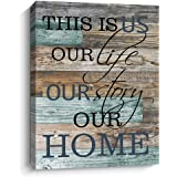Inspirational Canvas Wall Art, This is Us Prints Signs Framed, Retro Artwork Decoration for Bedroom, Living Room, Home Wall Decor, 12x15 Inch (Blue)