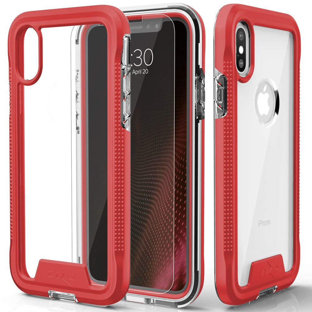 Zizo ION Series Compatible with iPhone X Case Military Grade Drop Tested with Tempered Glass Screen Protector iPhone Xs Case Rose Gold Clear 4334980490