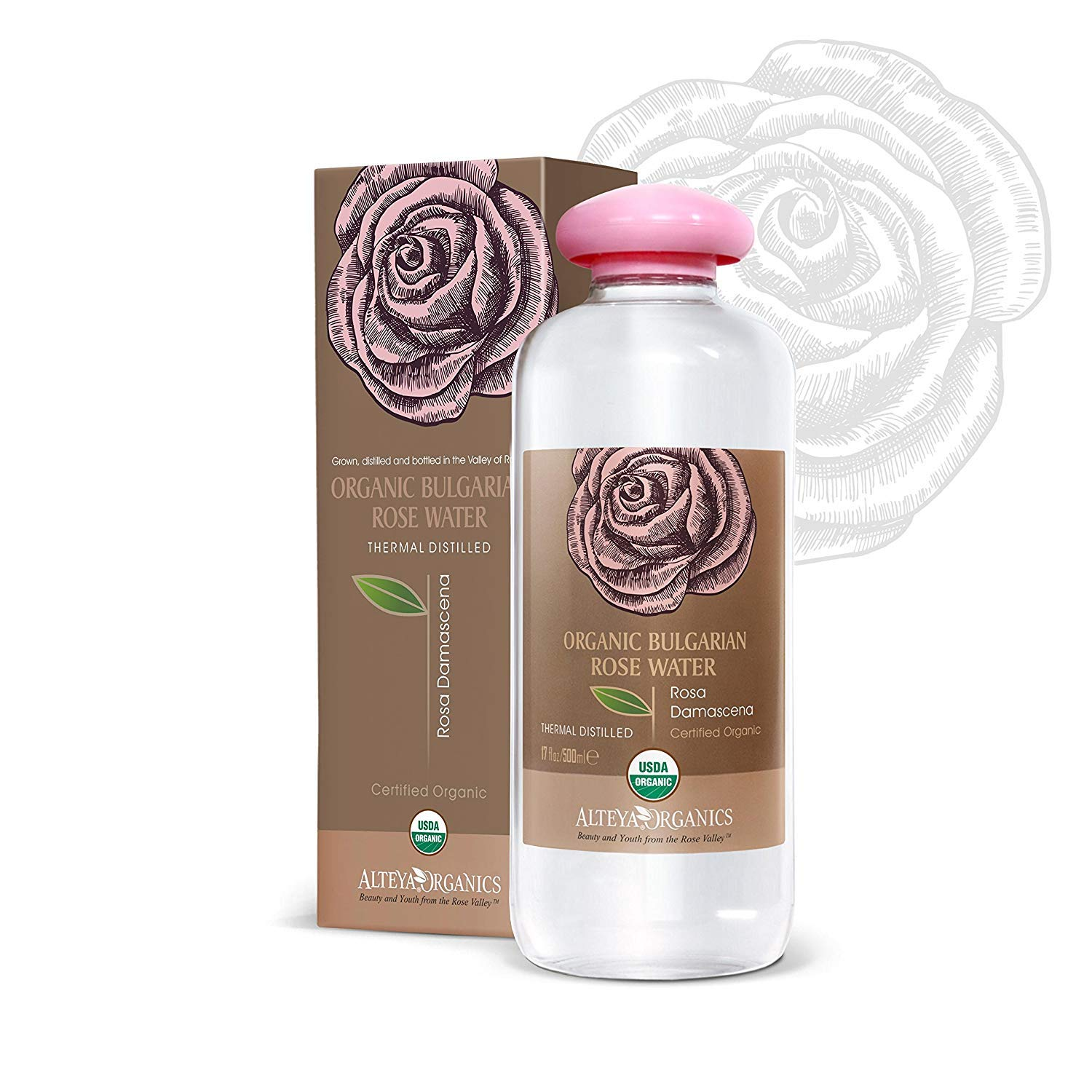 Alteya USDA Organic Bulgarian Rose Water (From New Rose Harvest) - EXTRA LARGE, 17fl oz/500ml, 100% Pure, From Alteya's Bulgarian Rose Fields and Distillery ... by Alteya Organics