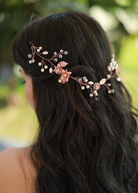 gracewedding novia y boda oro rosa parte trasera de la Reina cabeza – Vestido de boda