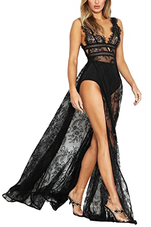 e64ff388e297 Meenew Women's Sheer Lace Sexy V Neck Double Split Long Maxi Party Dress  Black S
