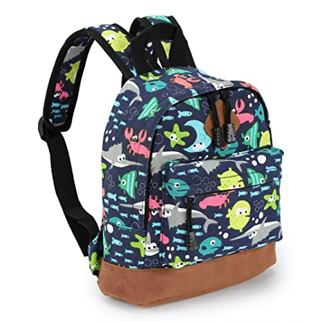 01ce4bc413c8 Preschool Toddler Backpack, Zicac Little Kid Canvas School Backpacks for  Children Boys and Girls with Cute Animal Pattern(S, Blue)