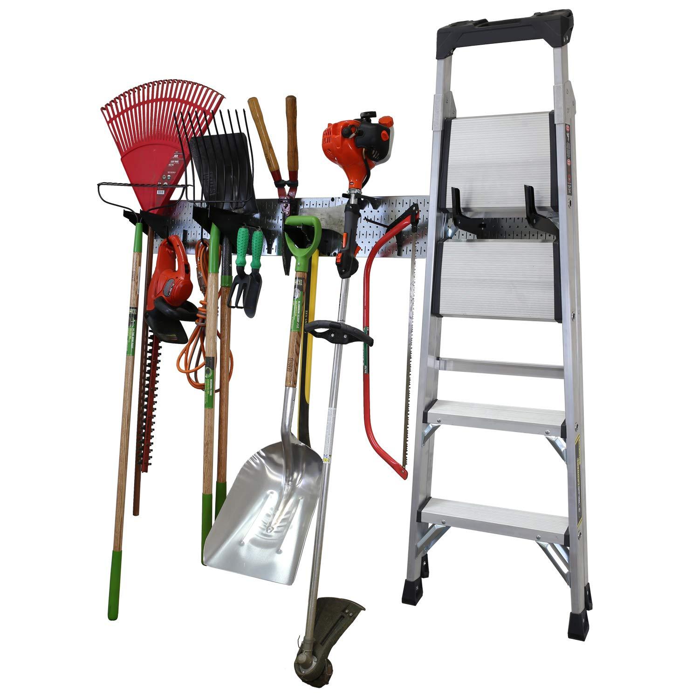 "Wall Control Garage Storage Rack Lawn & Garden Tool Organization Wall Mount Organizer - Easy to Install 64"" Wide Strong Galvanized Steel Pegboard Set (Shiny Metallic Pegboard)"
