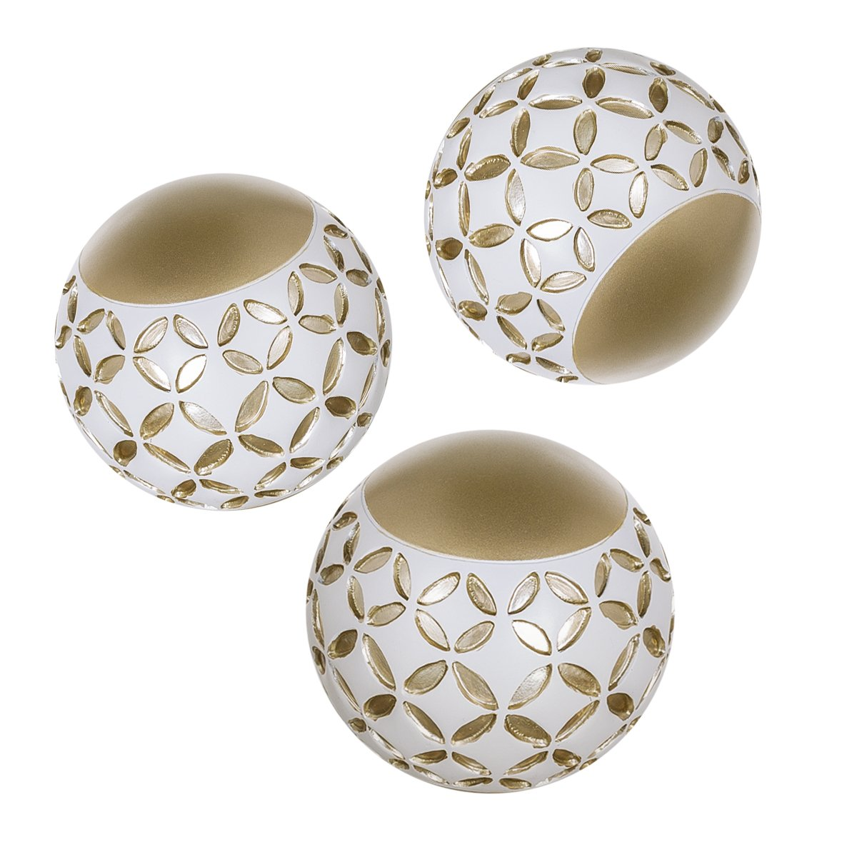 "Schonwerk Diamond Lattice Decorative Orbs Set of 3 | Resin Spheres Balls Decor | 3.2"" Colorful Elegant Orbs for Bowls 