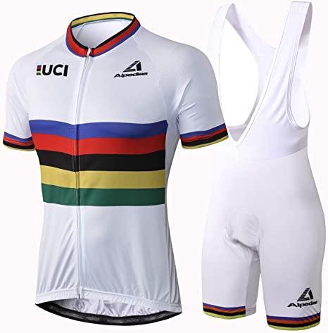 Alpediaa Maillot Ciclismo UCI World Champion,Hombres Maillots de Bicicleta Conjunto de Jersey de Manga Corta,Maillot Ciclismo Ropa Set ESUCI049-6: Amazon.es: Deportes y aire libre