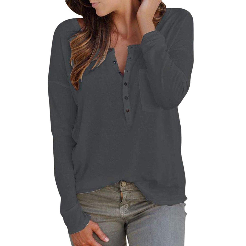 Fulltime Autumn/&Winter Clothing, TM Medium, Grey Long Sleeve Pullover Ladies Loose Shirt