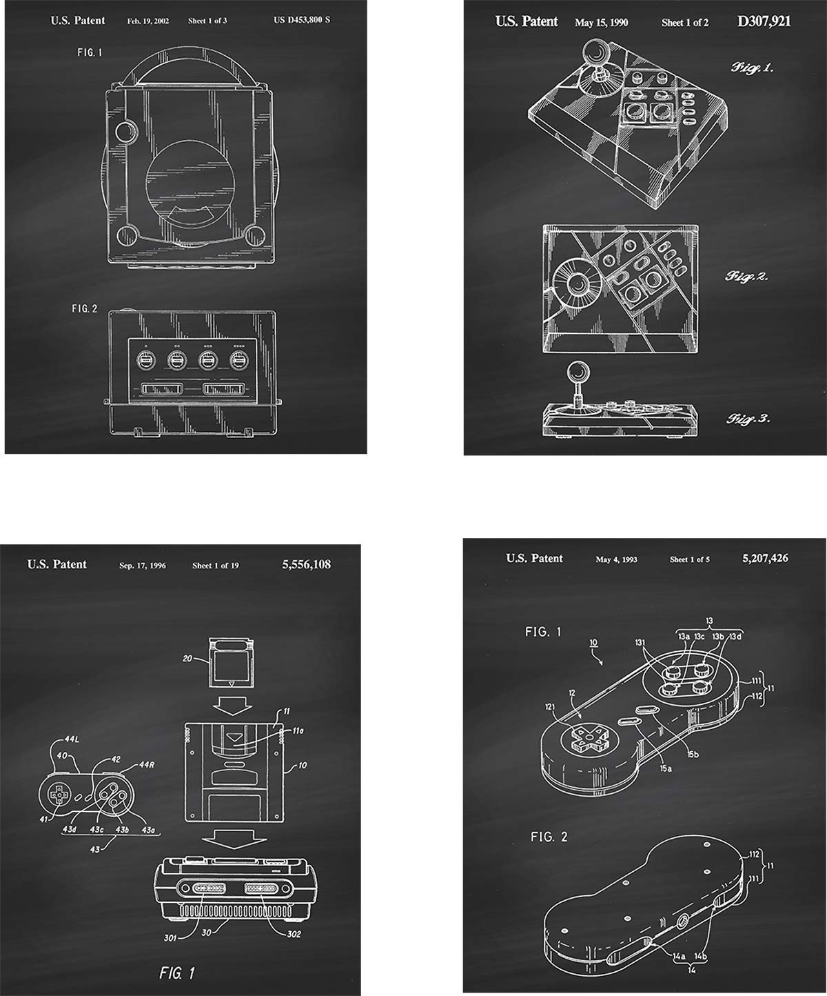 Nintendo Gaming Patent Wall Art Prints - set of Four (8x10) Unframed - wall art decor for any video game lovers
