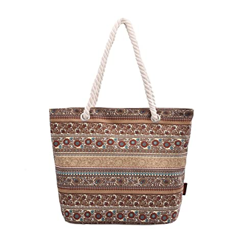 802ef0da0 Douguyan Printing Beach Canvas Bags Women's Top Rope Shoulder Bag Casual  Shopping Bag 252 M