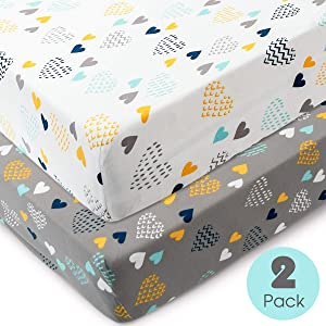 COSMOPLUS Knitted Crib Sheet Set -2 Pack Stretchy Crib Sheets for Boys Girls,Universal Knit Fitted for Standard Baby Toddler Crib,Heart Pattern