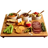 "Picnic at Ascot Bamboo Cheese Board/ Charcuterie Platter with 3 Ceramic Bowls & Cheese Markers - 13"" x 13"" - Designed & Quality Checked in the USA"