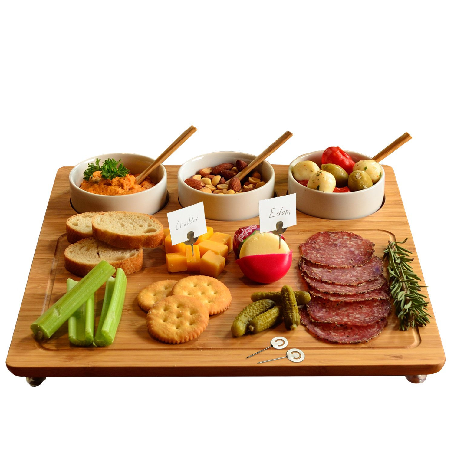 Picnic at Ascot Bamboo Cheese Board/Charcuterie Platter with 3 Ceramic Bowls & Cheese Markers - 13'' x 13'' - Designed & Quality Checked in the USA