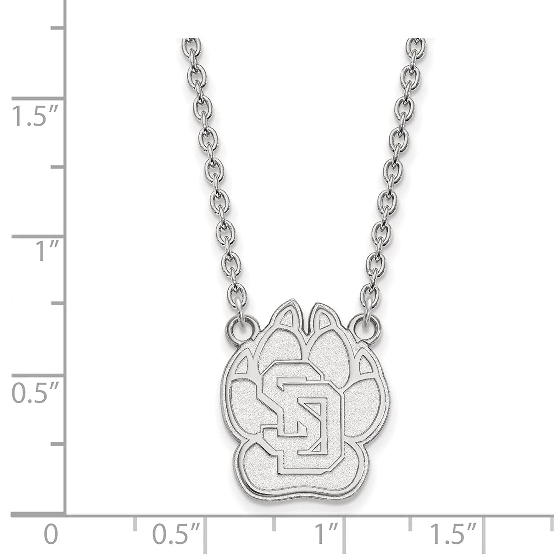 925 Sterling Silver Rhodium-plated Laser-cut University of South Dakota Large Pendant w//Necklace 18