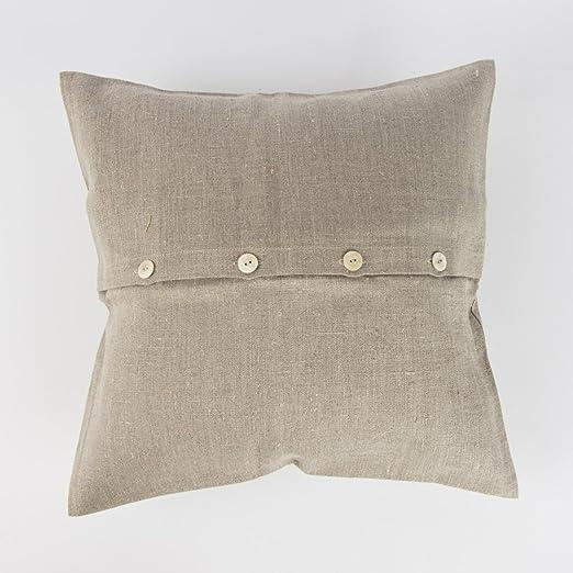 Funda de cojín de lino Erik con botones de colour blanco y ...