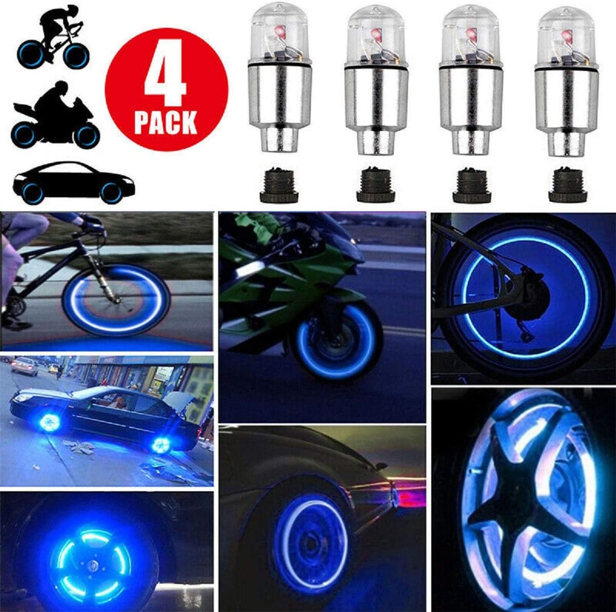 Tyre Valve Cap Light Bicycle Tire Bulbs Air Cover Caps Wheel Rim Accessories