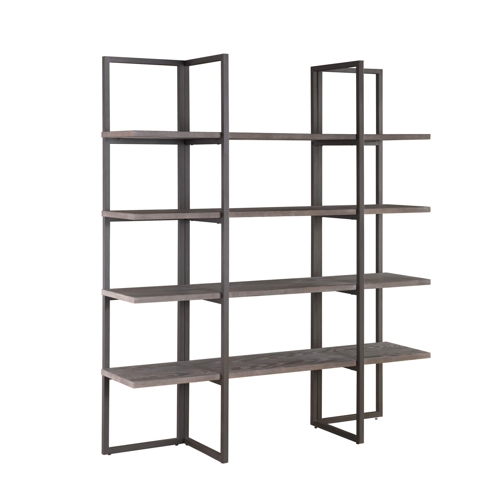 Zeke 60'' Bookcase in Rocky Mountain Gray with Four Wood Shelves And Metal Frame, by Artum Hill
