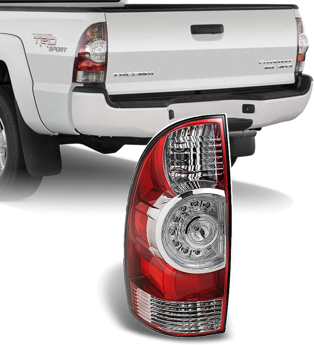 ACANII For Smoke Len 2005-2015 Toyota Tacoma Truck Tail Lights Brake Lamps Taillights 05-15 Left Right Assembly