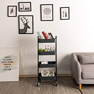 LIK.TOPPER 4-Tier Grey Utility Cart, Office Home Heavy Duty Storage Rolling Organization Metal Cart with Wheels