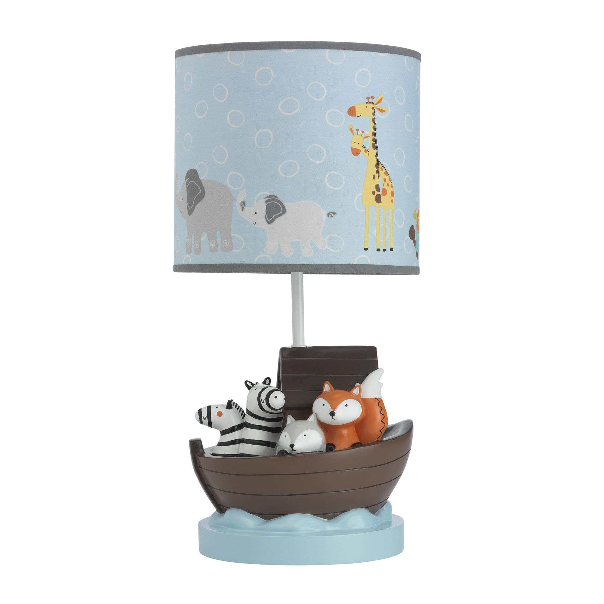 Lambs & Ivy Two of A Kind Noah'S Ark Animals Lamp With Shade & Bulb, Blue/Gray